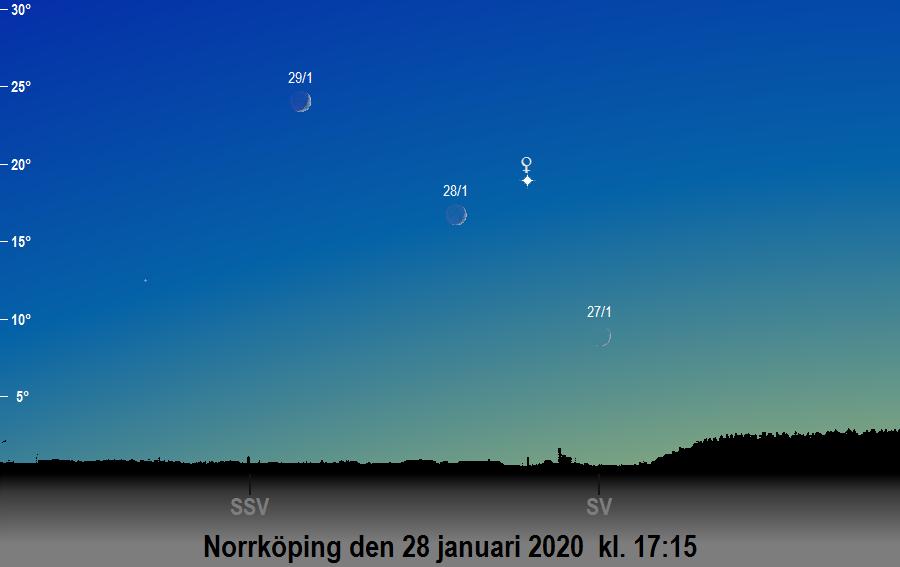 Månen nära Venus den 28 januari 2020 kl. 17:15 sedd från Norrköping
