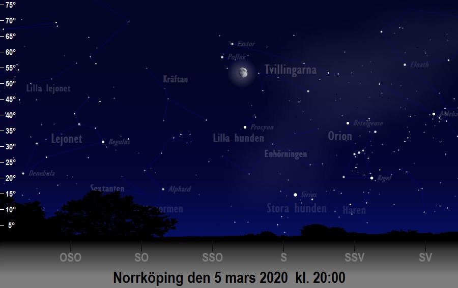 Månen nära Pollux den 5 mars 2020 kl. 20:00 sedd från Norrköping