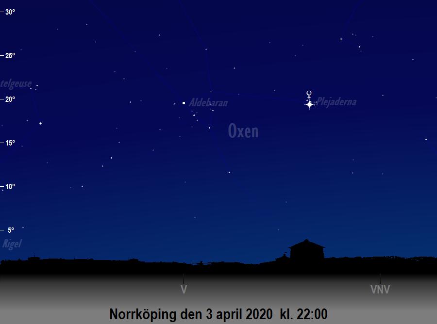 Konjunktion mellan Venus och Plejaderna den 3 april 2020 kl. 22:00 sedd från Norrköping