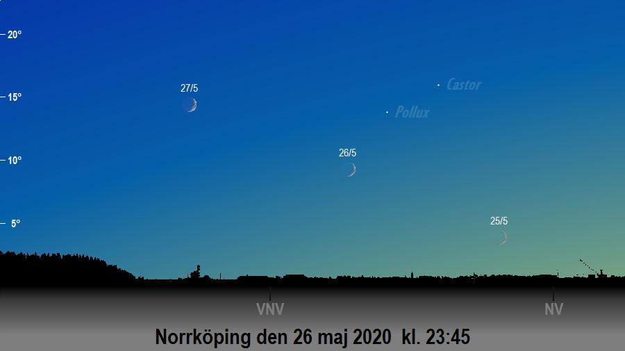 Månen nära Pollux den 26 maj 2020 kl. 23:45 sedd från Norrköping