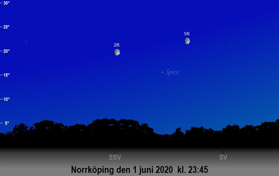 Månen nära Spica den 1 juni 2020 kl. 23:45 sedd från Norrköping
