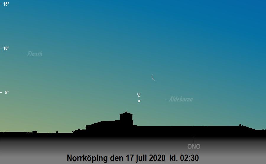 Månen nära Venus och Aldebaran den 17 juli 2020 kl. 02:30 sedd från Norrköping
