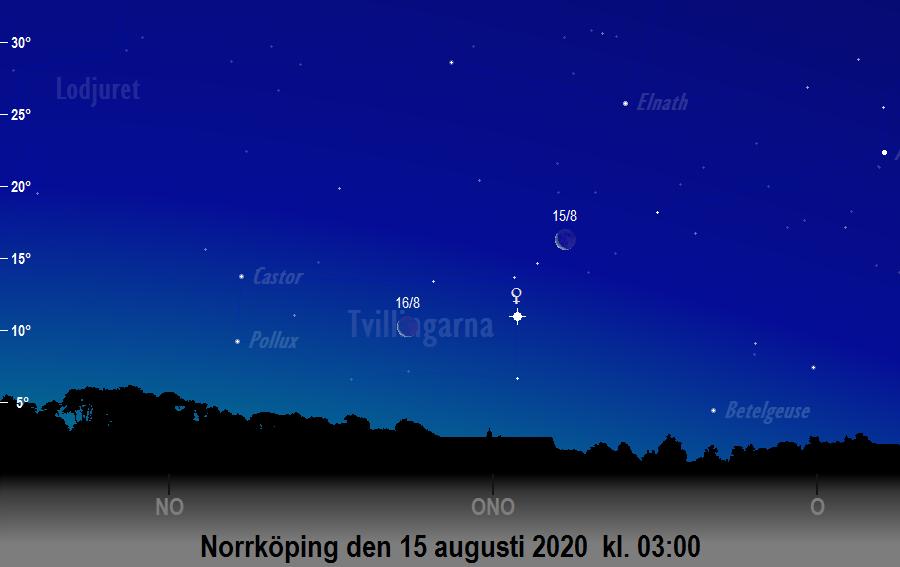 Månen nära Venus den 15 augusti 2020 kl. 03:00 sedd från Norrköping