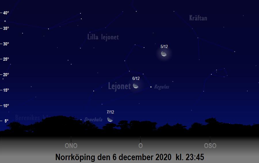 Månen nära Regulus den 6 december 2020 kl. 23:45 sedd från Norrköping
