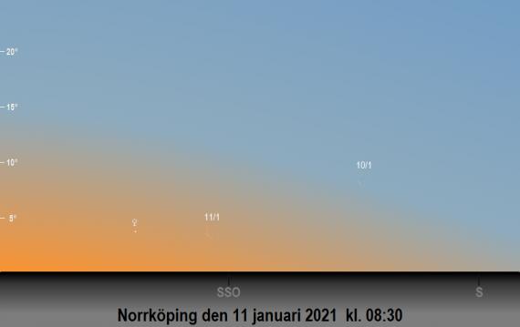 Venus och månens position på himlen den 11 januari (och även 10 januari) 2021 kl. 08:30 sedd från Norrköping