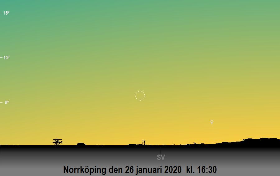 Månen nära Merkurius den 26 januari 2020 kl. 16:30 sedd från Norrköping