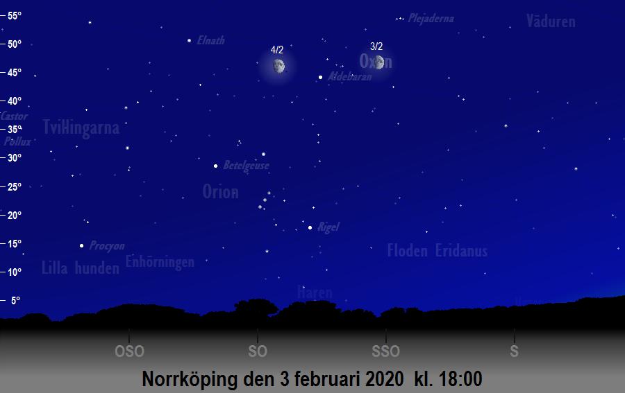 Månen nära Plejaderna den 3 februari 2020 kl. 18:00 sedd från Norrköping
