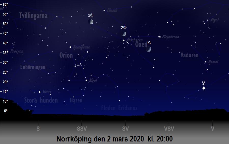 Månen nära Aldebaran den 2 mars 2020 kl. 20:00 sedd från Norrköping
