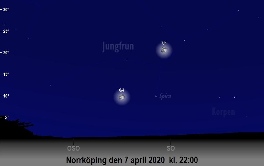 Månen nära Spica den 7 april 2020 kl. 22:00 sedd från Norrköping