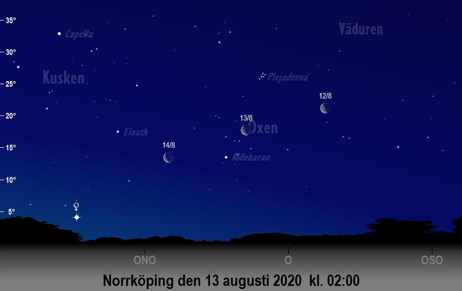 Månen nära Aldebaran den 13 augusti 2020 kl. 02:00 sedd från Norrköping
