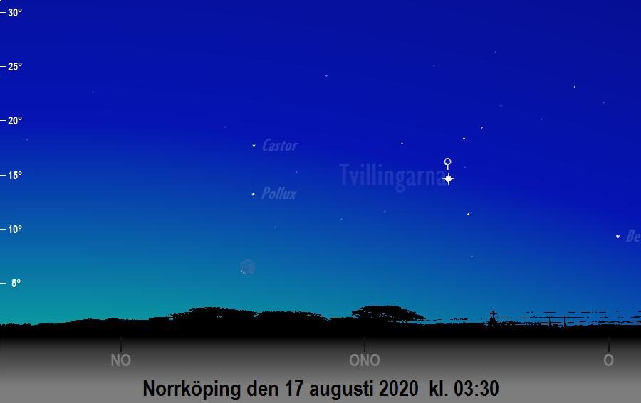 Månen nära Pollux den 17 augusti 2020 kl. 03:30 sedd från Norrköping