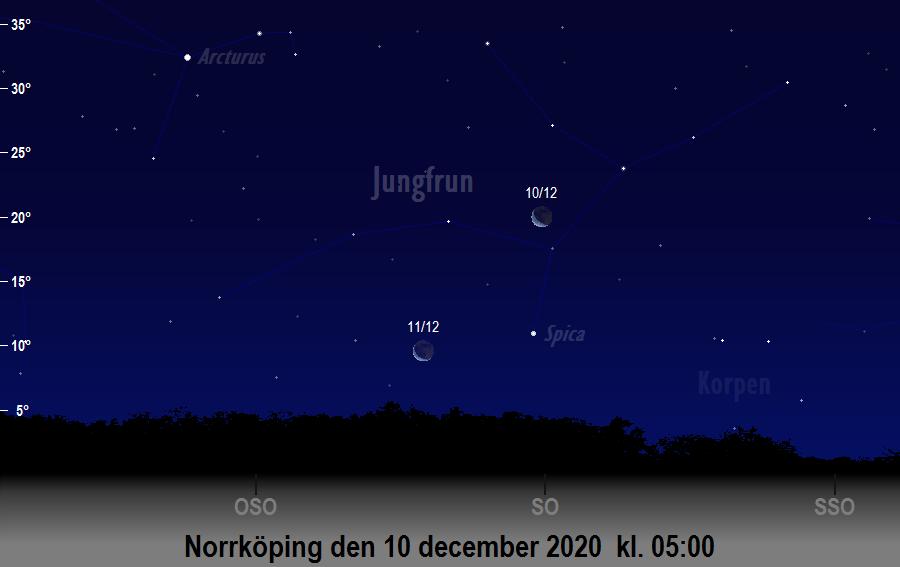 Månen nära Spica den 10 december 2020 kl. 05:00 sedd från Norrköping