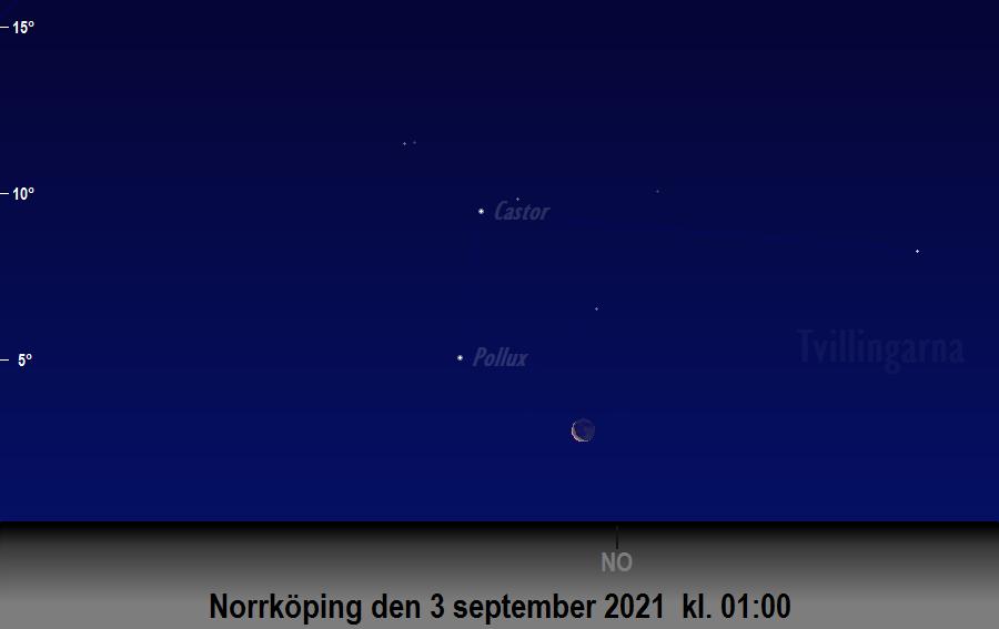 Månen bildar en triangel med<br/> Castor och Pollux den 3 september 2021 kl. 01:00 sedd från Norrköping